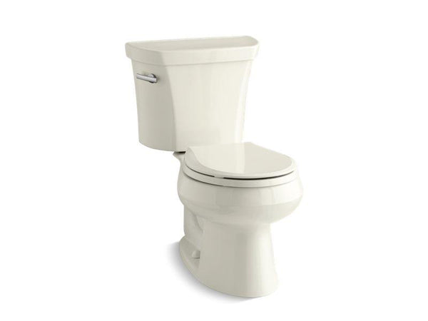 Kohler 3997-U-96 Wellworth® two-piece round-front 1.28 gpf toilet with Class Five® flush technology, left-hand trip lever and Insuliner® tank liner, seat not included-Toilets-HomePlumbing