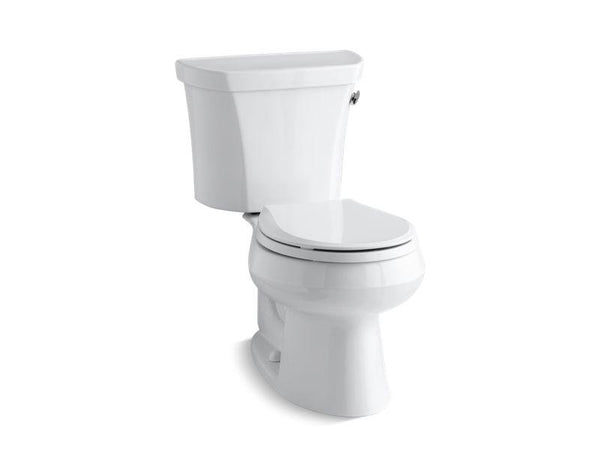 Kohler 3977-TR-0 Wellworth® two-piece round-front 1.6 gpf toilet with Class Five® flush technology, right-hand trip lever and tank cover locks, seat not included-Toilets-HomePlumbing