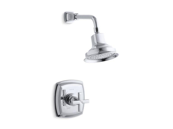 Kohler TS16234-3-CP Margaux Rite-Temp shower valve trim with cross handle and 2.5 gpm showerhead-Shower Trim-HomePlumbing