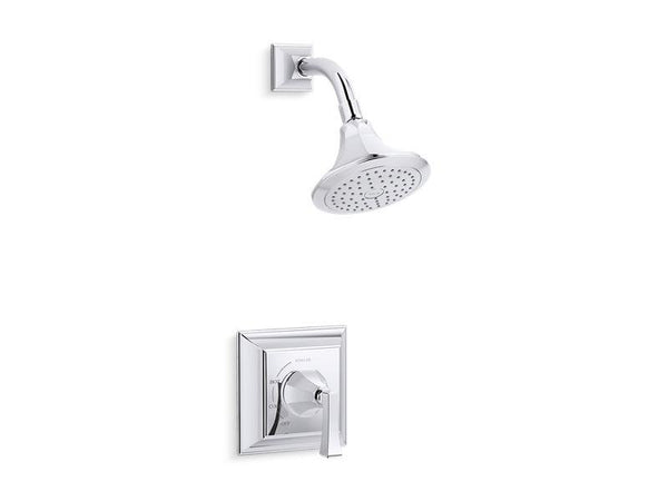 Kohler TS462-4V-CP Memoirs Stately Rite-Temp shower valve trim with Deco lever handle and 2.5 gpm showerhead-Shower Trim-HomePlumbing