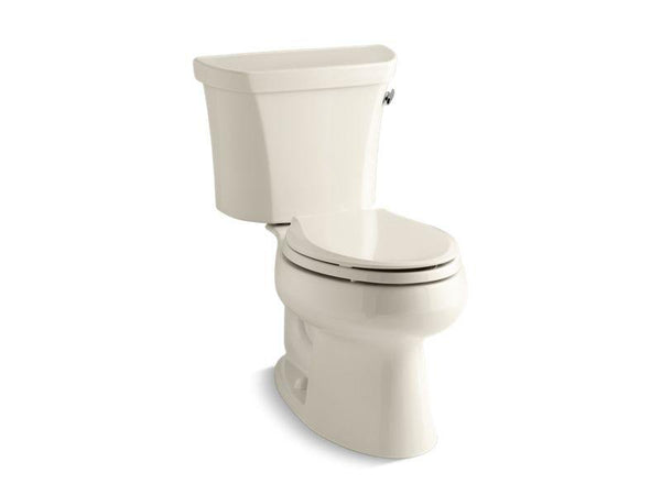 Kohler 3998-TR-47 Wellworth® two-piece elongated 1.28 gpf toilet with Class Five® flush technology, right-hand trip lever and tank cover locks, seat not included-Toilets-HomePlumbing