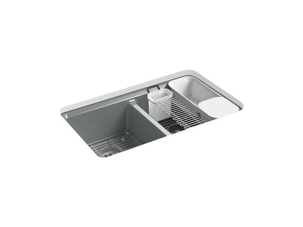 "Kohler 8679-5UA3-FT Riverby 33"" x 22"" x 9-5/8"" under-mount double-equal kitchen sink with accessories and 5 oversized faucet holes-Kitchen Sinks-HomePlumbing"