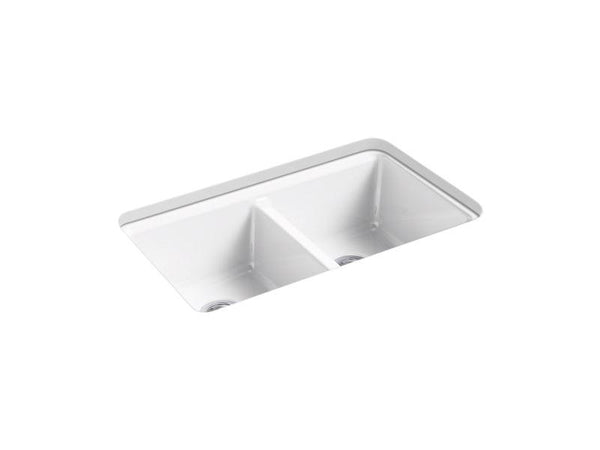 "Kohler 8679-5UA3-0 Riverby 33"" x 22"" x 9-5/8"" under-mount double-equal kitchen sink with accessories and 5 oversized faucet holes-Kitchen Sinks-HomePlumbing"