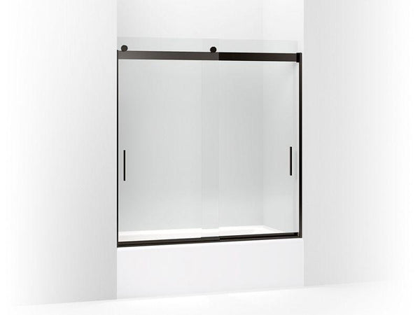 "Kohler 706000-L-ABZ Levity sliding bath door, 62"" H x 56-5/8 - 59-5/8"" W, with 1/4"" thick Crystal Clear glass and blade handles-Shower Doors-HomePlumbing"