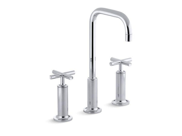 Kohler 14408-3-CP Purist® Widespread bathroom sink faucet with high cross handles and high gooseneck spout-Sink Faucets-HomePlumbing