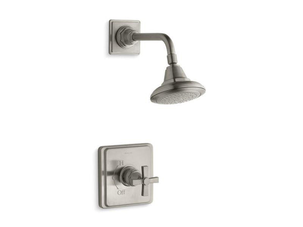 Kohler TS13134-3A-BN Pinstripe Pure Rite-Temp shower valve trim with cross handle and 2.5 gpm showerhead-Shower Trim-HomePlumbing