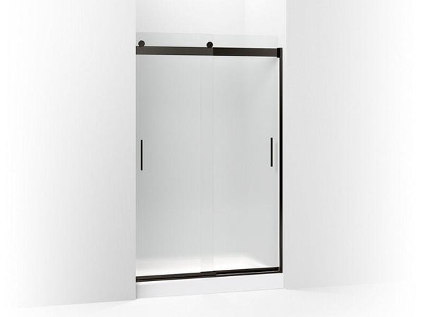 "Kohler 706008-D3-ABZ Levity sliding shower door, 74"" H x 44-5/8 - 47-5/8"" W, with 1/4"" thick Frosted glass and blade handles-Shower Doors-HomePlumbing"