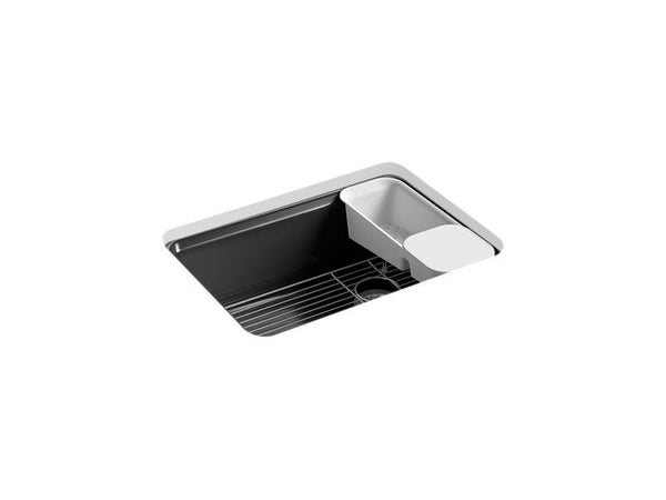 "Kohler 8668-5UA2-7 Riverby 27"" x 22"" x 9-5/8"" under-mount single-bowl kitchen sink with accessories and 5 oversized faucet holes-Kitchen Sinks-HomePlumbing"