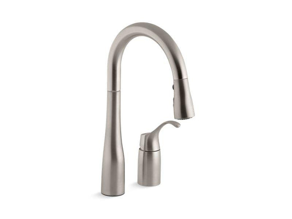 Kohler 649-VS Simplice® two-hole kitchen sink faucet with 14-3/4 pull-down swing spout, DockNetik magnetic docking system, and a 3-function sprayhead featuring Sweep(TM) spray-Kitchen Sink Faucets-HomePlumbing