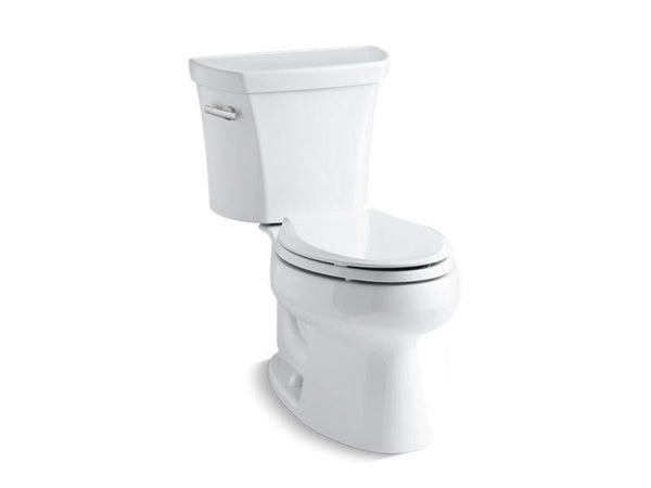 Kohler 3998-U-0 Wellworth® two-piece elongated 1.28 gpf toilet with Class Five® flush technology, left-hand trip lever and Insuliner® tank liner, seat not included-Toilets-HomePlumbing