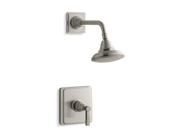 Kohler TS13134-4A-BN Pinstripe Pure Rite-Temp shower valve trim with lever handle and 2.5 gpm showerhead-Shower Trim-HomePlumbing
