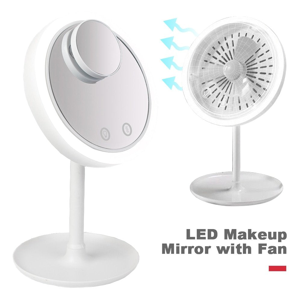 LED MAKEUP MIRROR WITH FAN