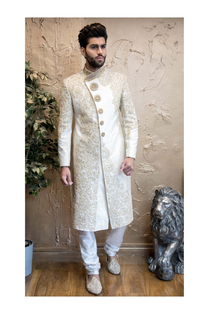 Antique Gold and Ivory Sherwani with Embroidery and Back Detail