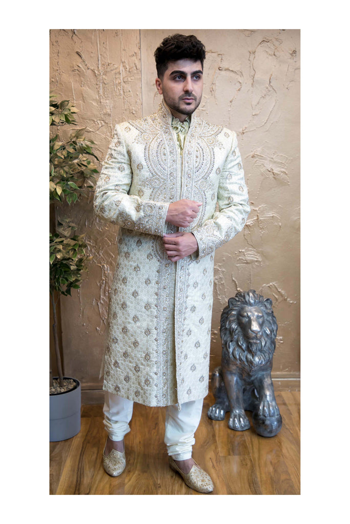 Gold Silk Sherwani with Zardozi thread work