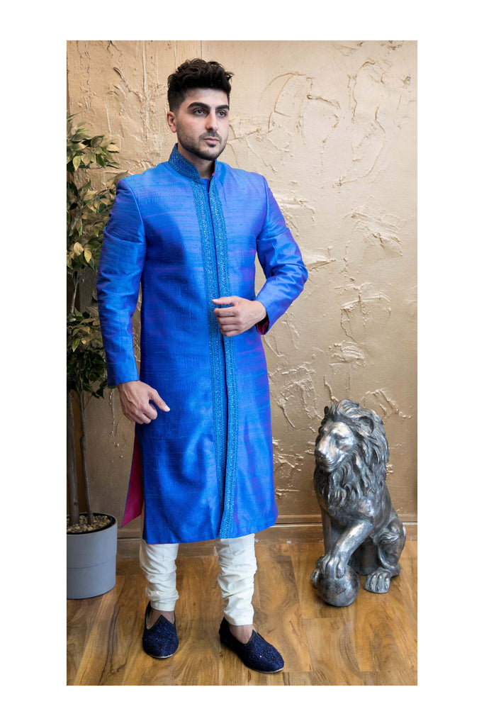 Royal Blue Sherwani with center Embroidery