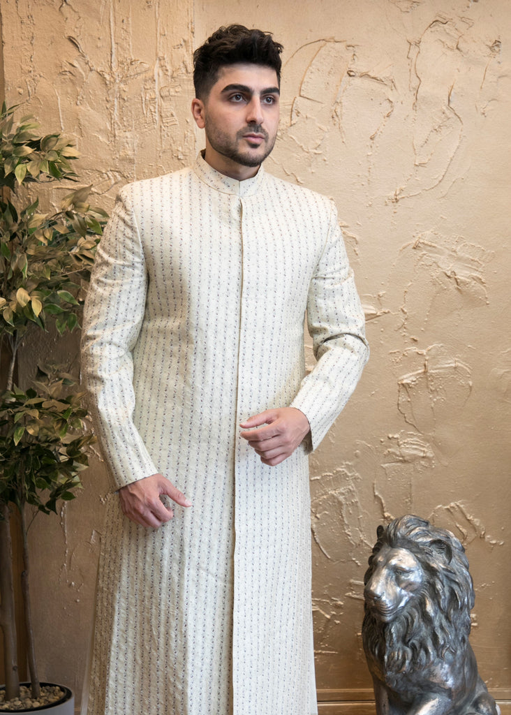 Off-white fully Embroidered Indian sherwani