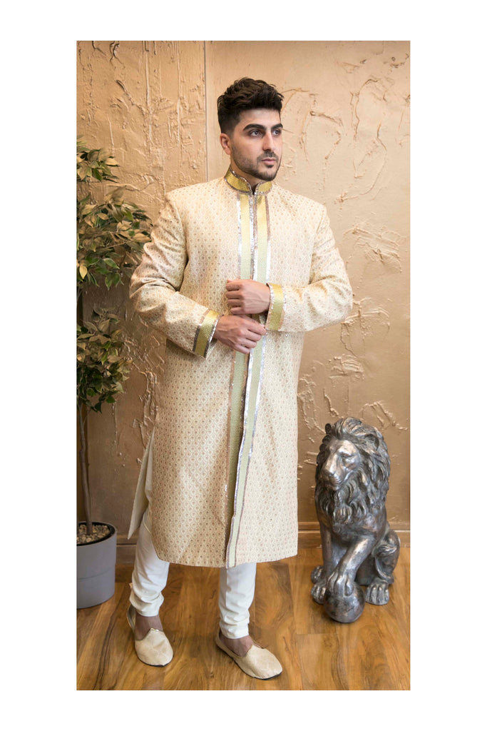 Antique Gold Embroidered Sherwani