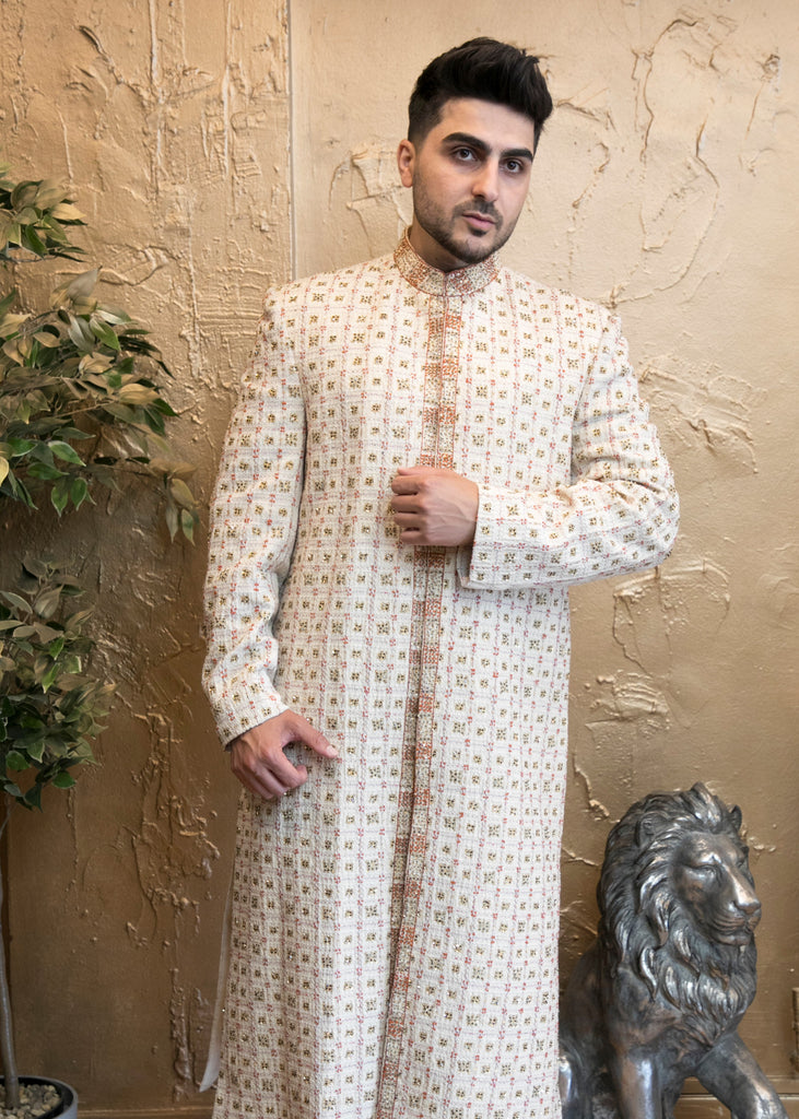 Light Beige Indian Sherwani with Embroidery