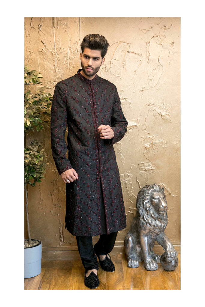 Black Sherwani with red Embroidery