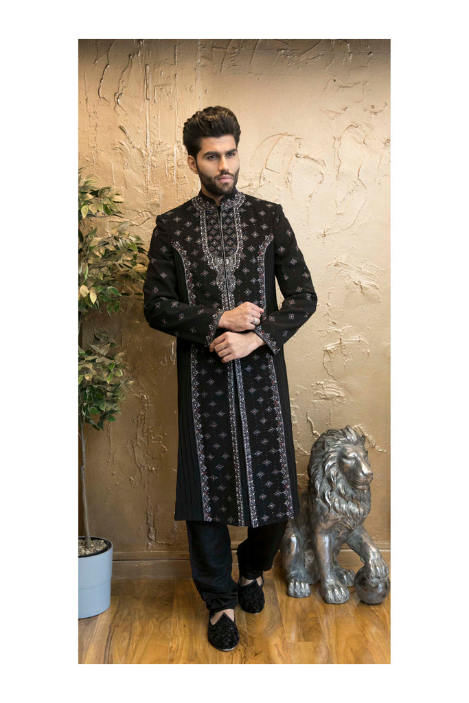 Timeless Black Sherwani with Pleated Embroidery