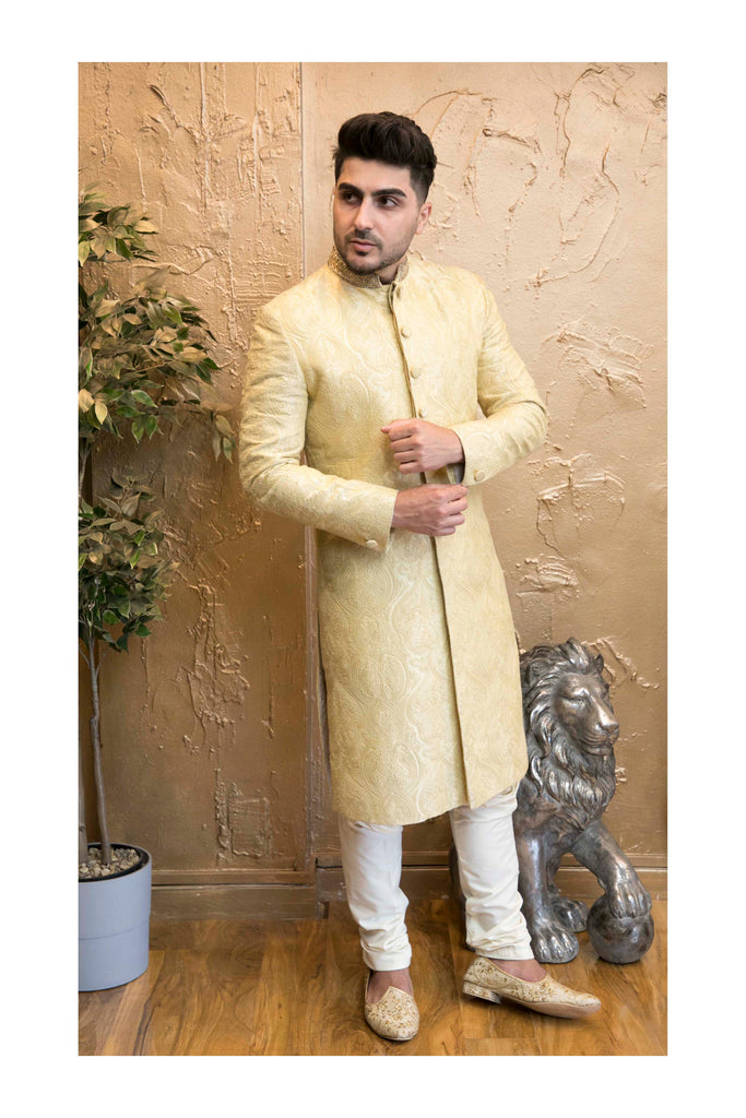 Gold Thread Embroidered Sherwani with Neck Detail