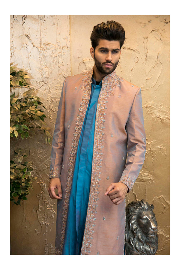 3 Piece Premium Groomsmen Rust Sherwani with Blue Kurta