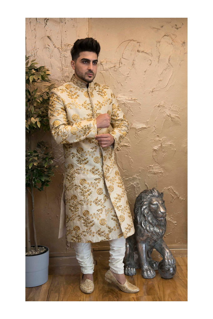 Light Gold Sherwani with Deep Gold Floral Embroidery