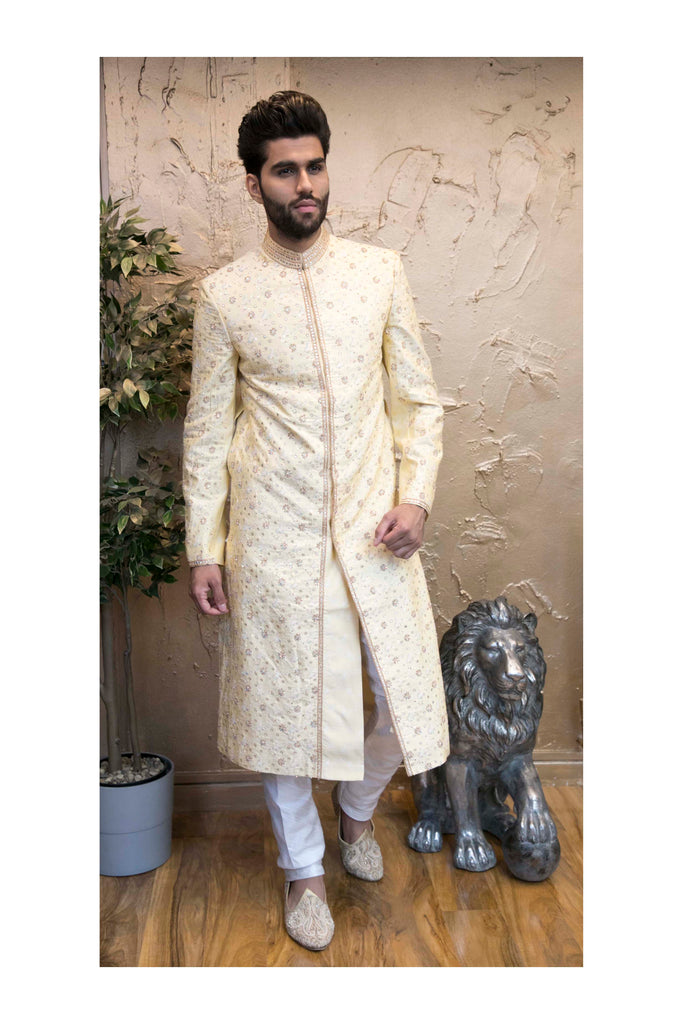 Modish Off-white Embroidered Indian Sherwani
