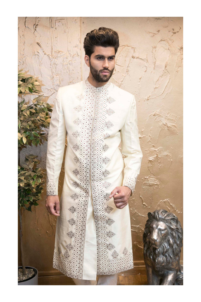 Off White Indian Sherwani With Central Pattern for Men