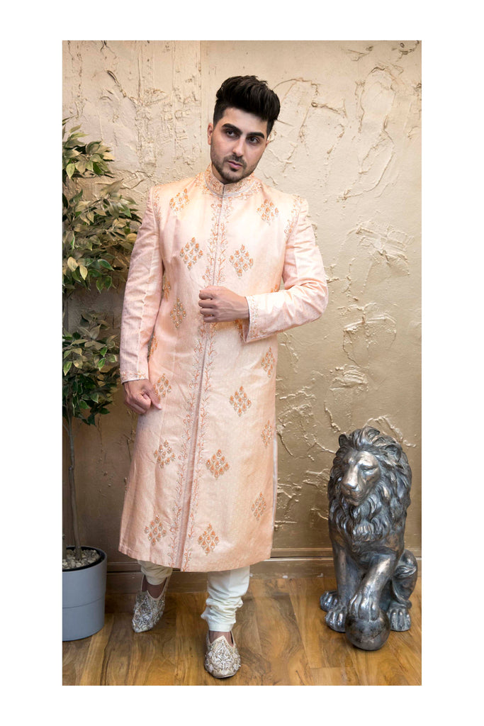 Pink Sherwani Indian style in Raw Silk with Embroidery