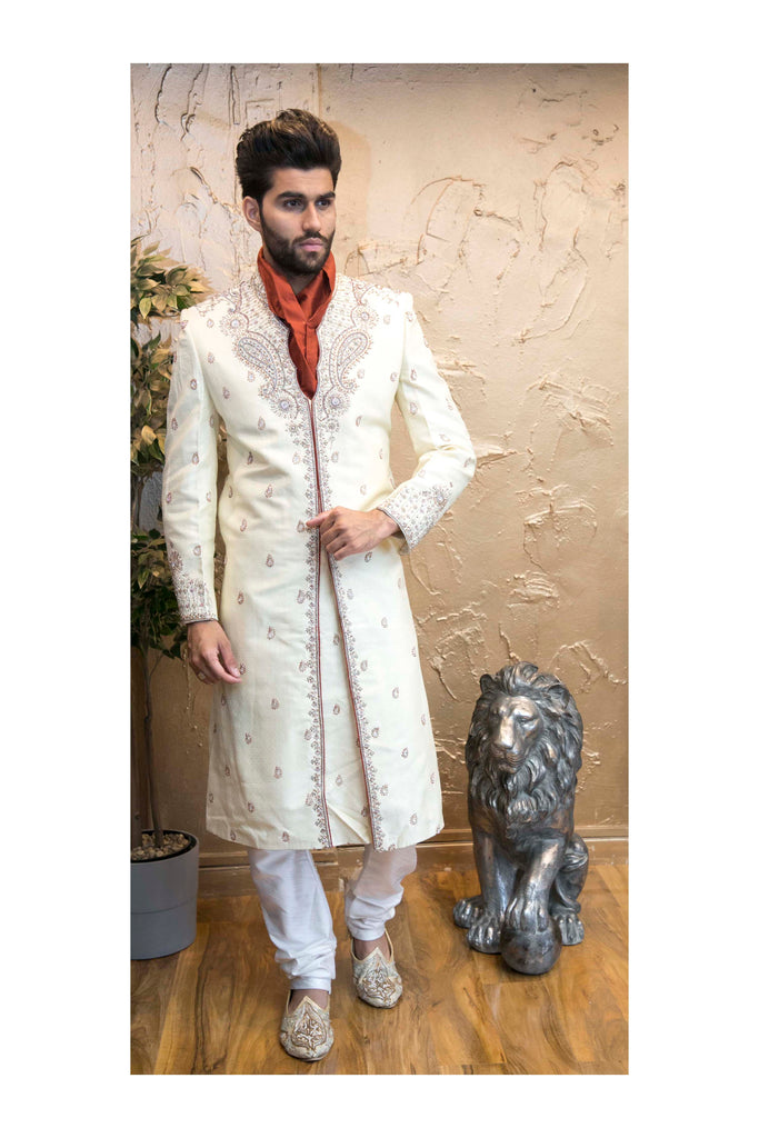 Ivory Sherwani with Rich Chest Piece Silver Embroidery