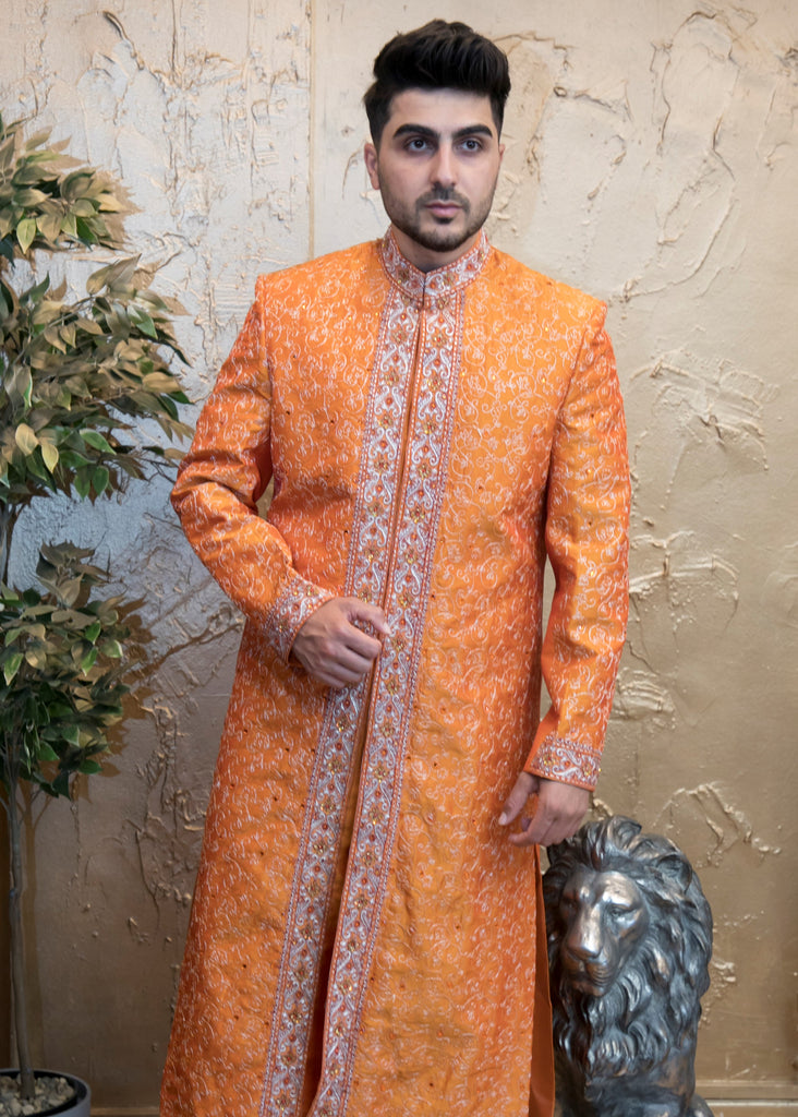 Orange Embroidered Bollywood Sherwani for Men