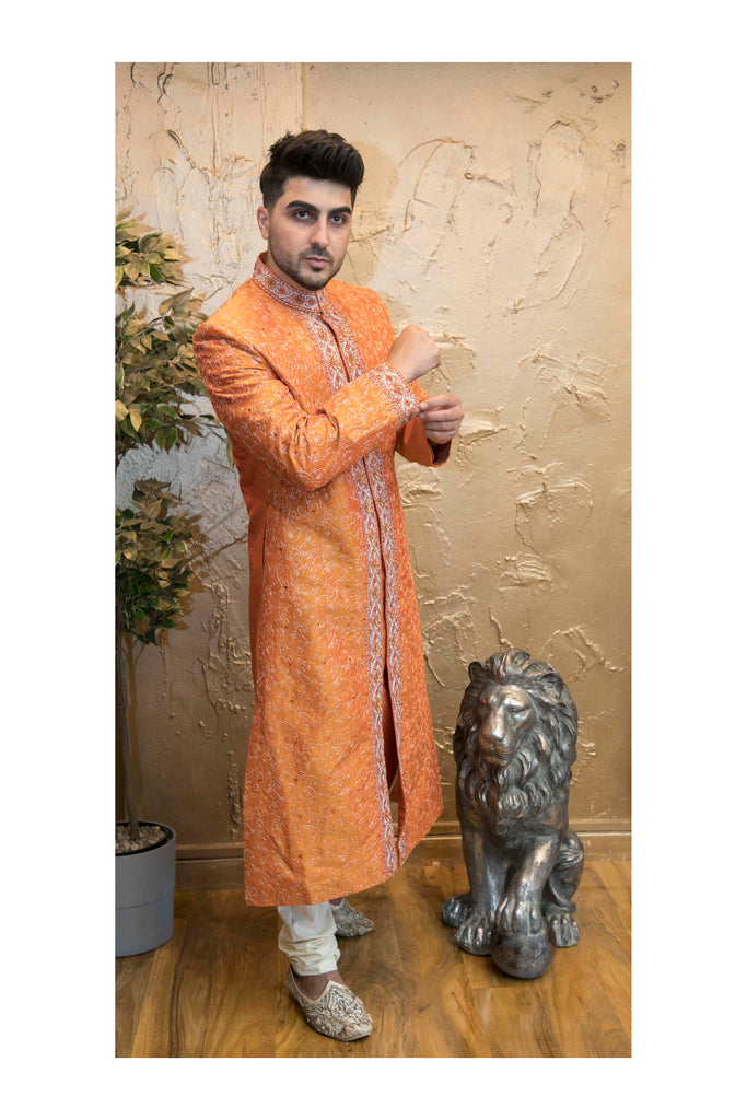 Noble Glossy Orange Indian Bollywood Sherwani in Raw Silk for Men