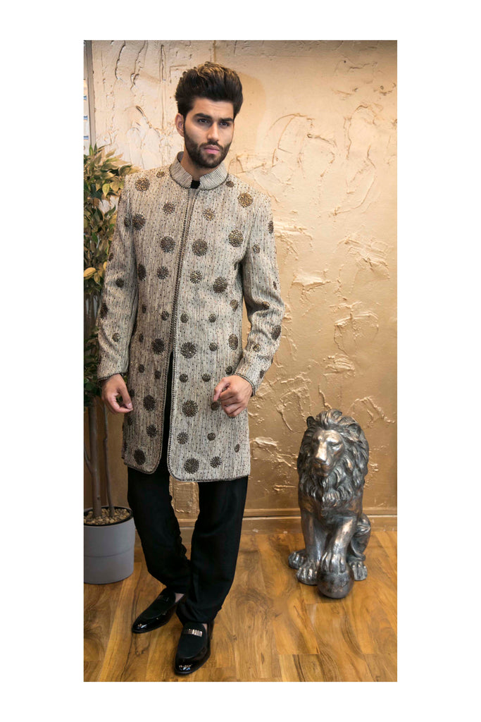 Sun Embroidered Bronze Sherwani