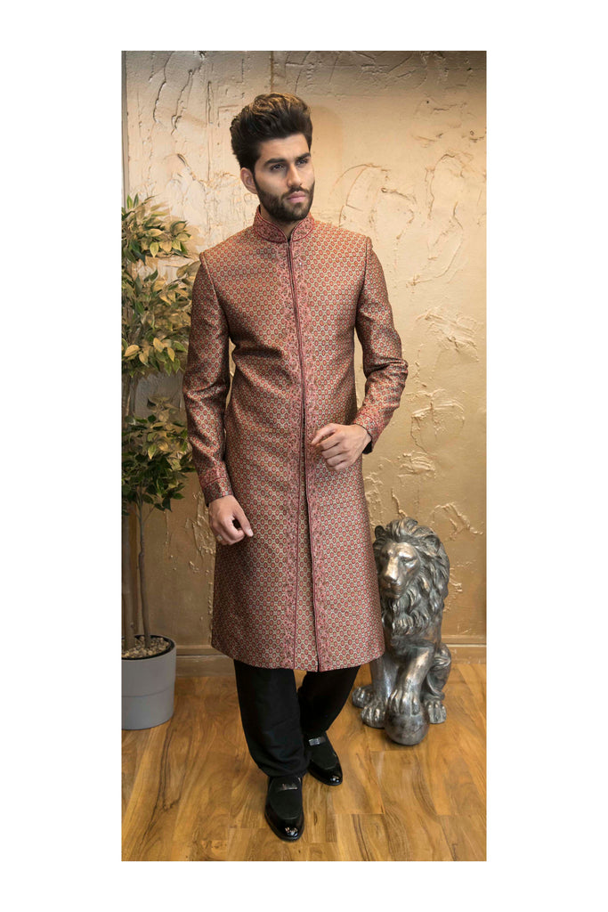 Red Patterned Brocade Indian Sherwani with Center Embroidery