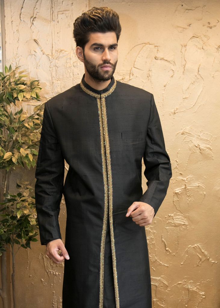 Black Sherwani with Gold Embroidery