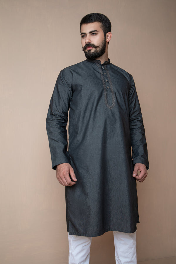 Ash Grey Eid Kurta Set with Floral Collar and Front