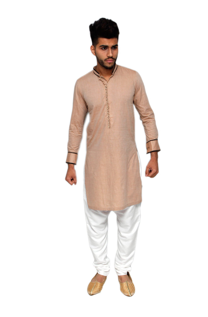 Beige Kurta with Piping Detail Pakistani - Indian Suit