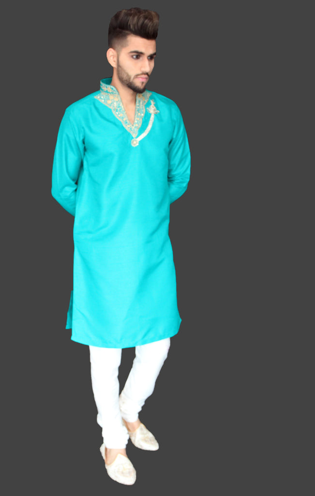 Teal Silk Kurta with Collar and Chest Embroidery