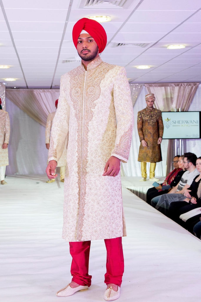 Gold Sherwani with Vine Embroidery