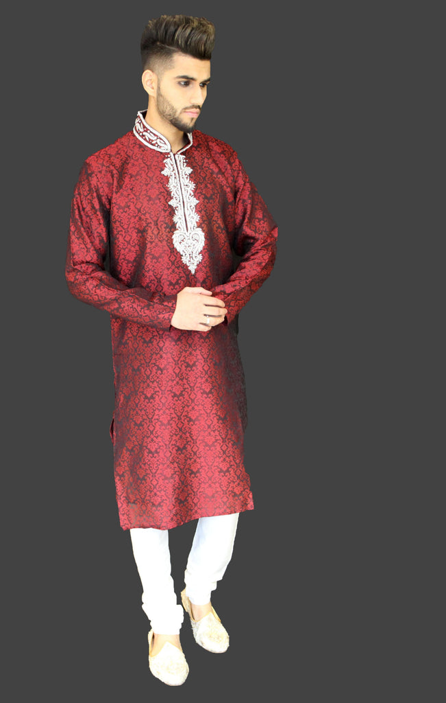 Black and Red Brocade Kurta Sherwani with Embellished Chest and Collar detail