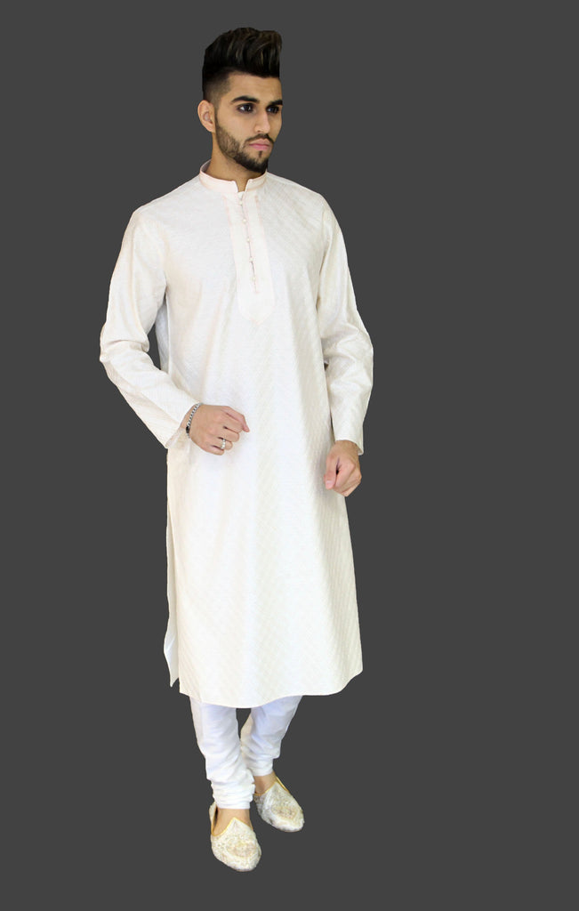 Cream Eid Kurta with overall Threadwork