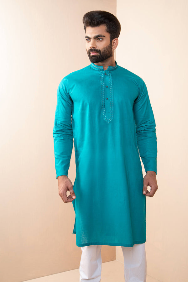 Turquoise Eid Kurta Set with Detailed Collar and Front