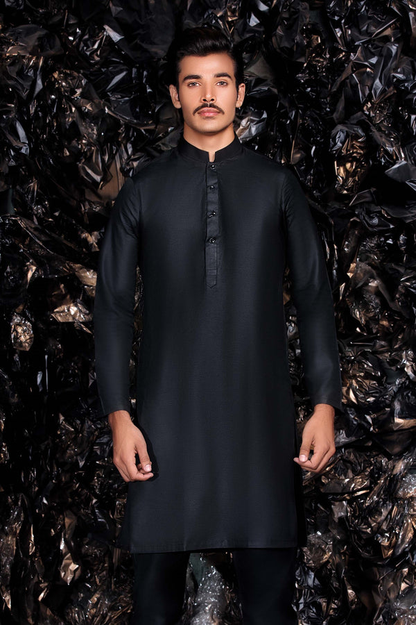 Black Kurta with Trousers Indian - Pakistani Suit