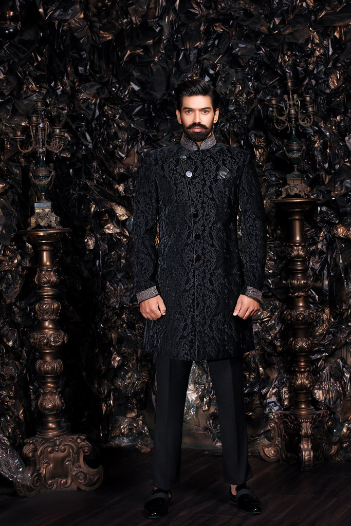 Black Velvet Embroidered Sherwani with Silver Zardozi Cuff and Collar Detail