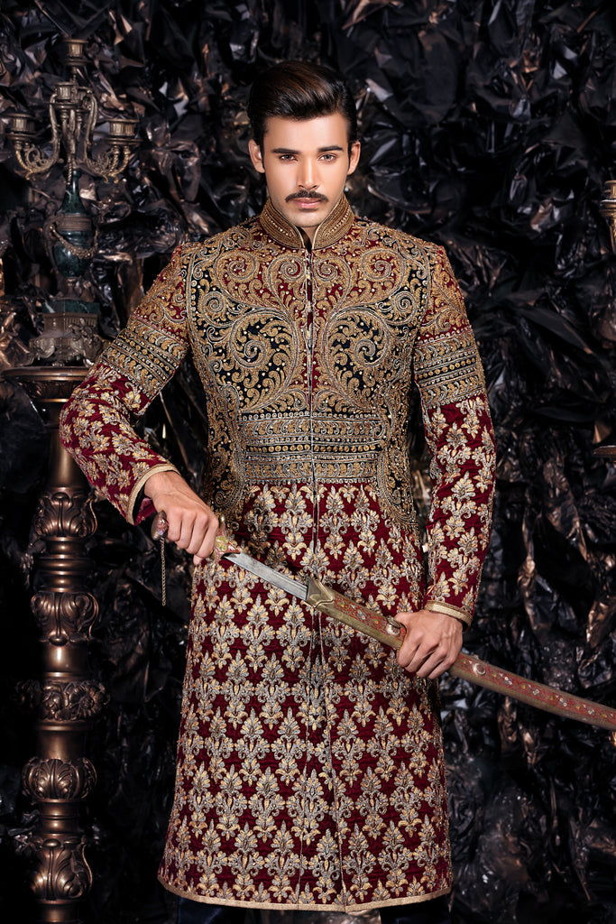 Red, Gold and Navy Sherwani with Gold Spiral Embroidery Details
