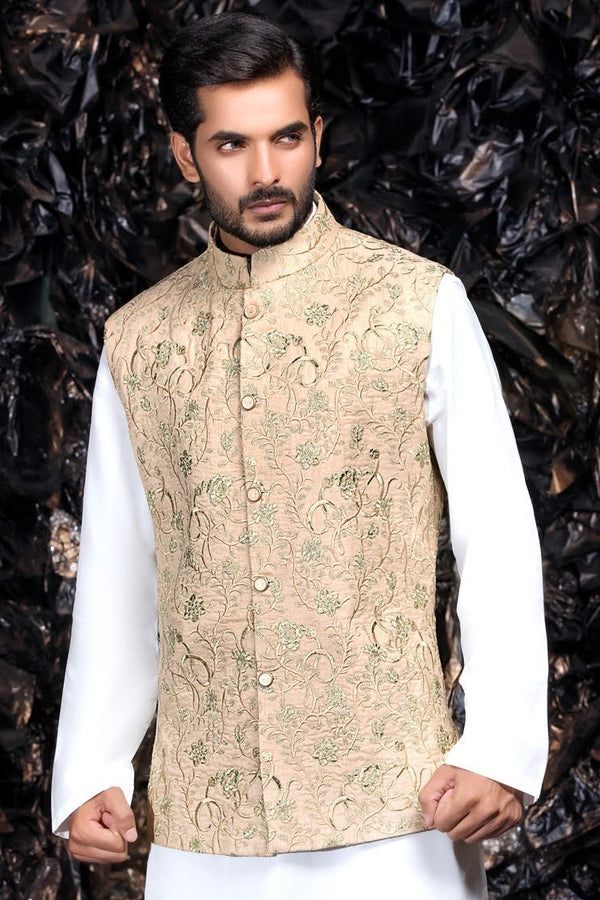 Gold Indian Bundi Waistcoat with Full Embroidery