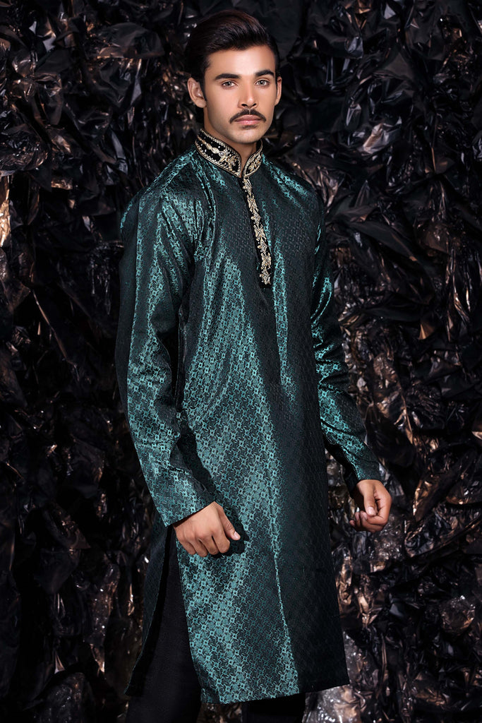 Sea Green Embroidered Kurta Bollywood Indian Mens Shirt