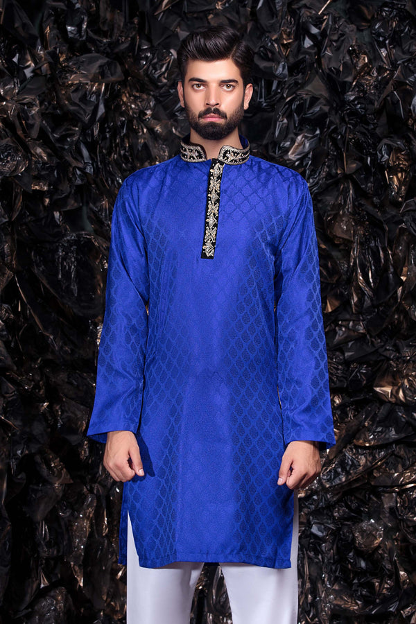 Blue Embroidered Kurta - Indian Party Shirt