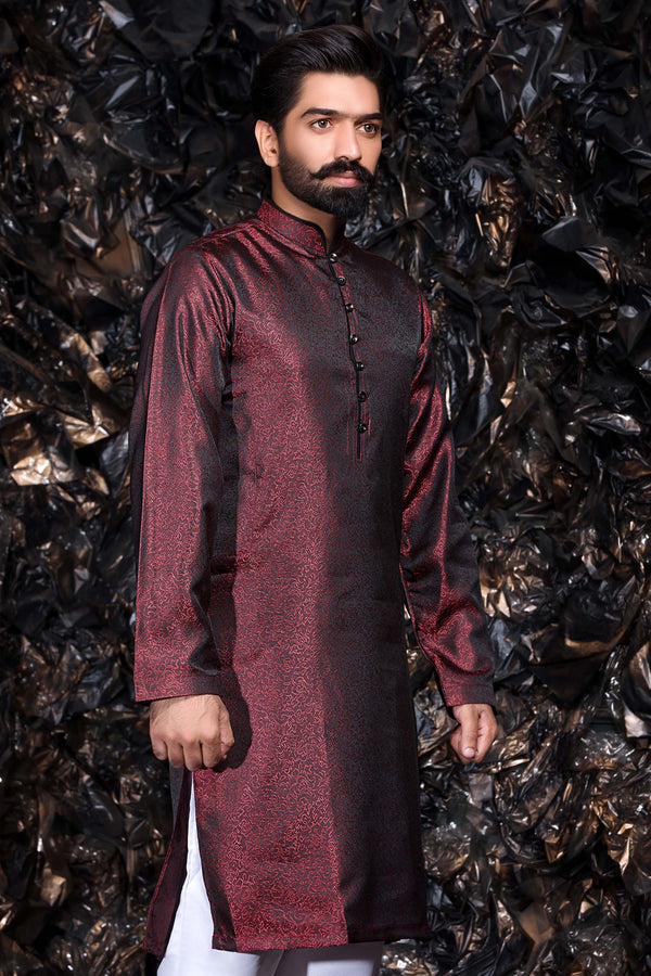 Maroon Brocade Occasion wear Pakistani - Indian Kurta Shirt